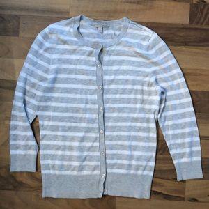 Gray/White striped cardigan